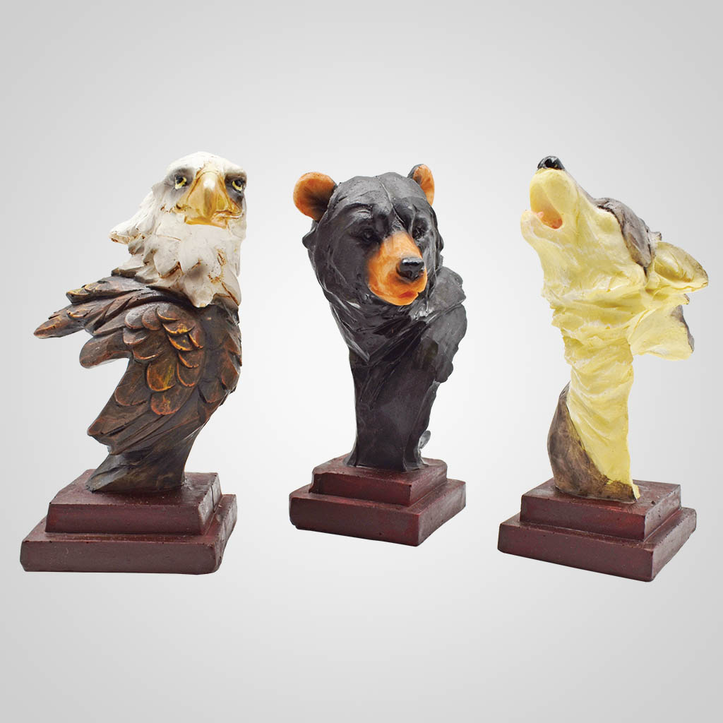 19558 - Eagle, Bear And Wolf Bust Figurines