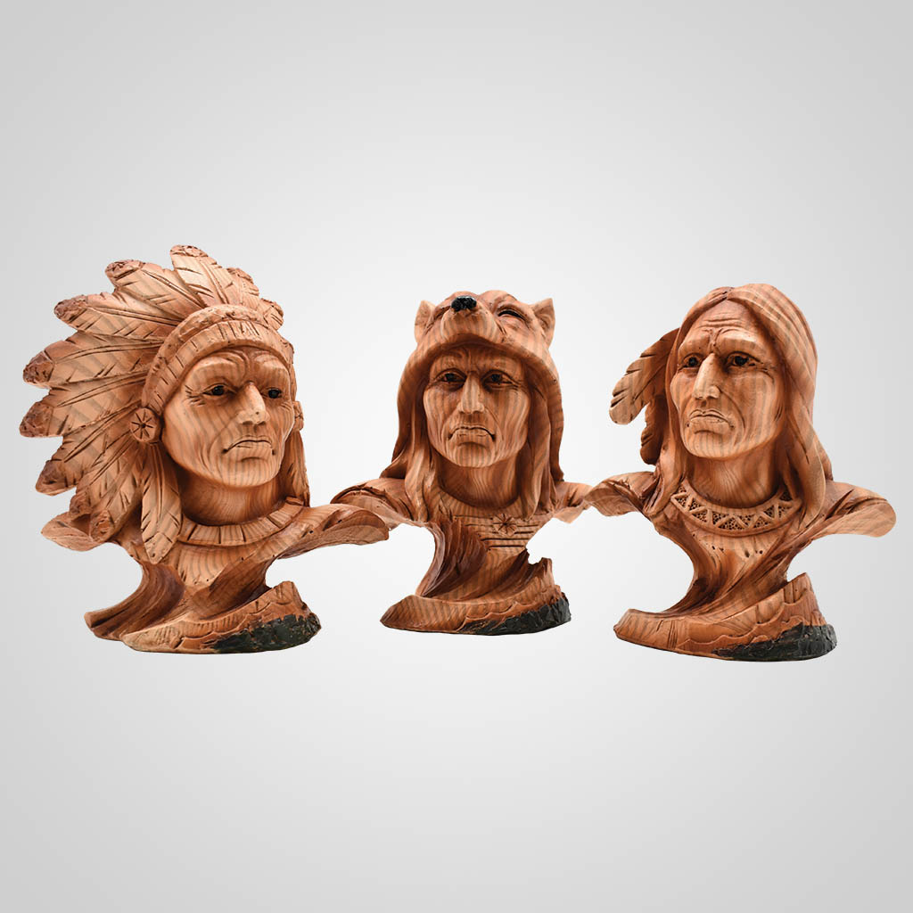 19559 - Woodgrain Native American Busts