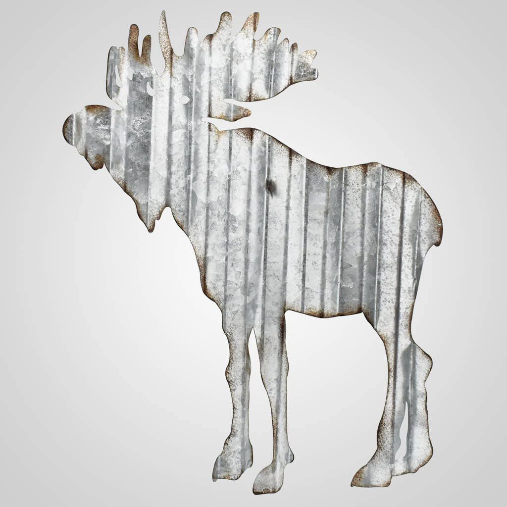 19561 - Corrugated Metal Moose Wall Art