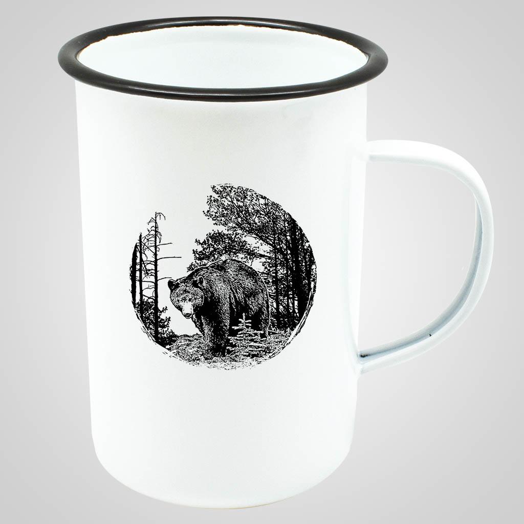 19562BEA - Tall Enamelware Mug - Bear Print