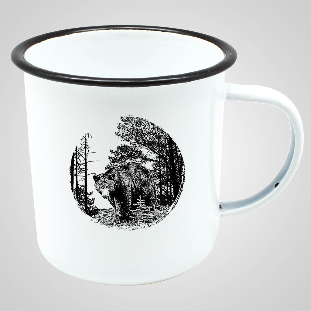 19563BEA - Enamelware Mug - Bear Print