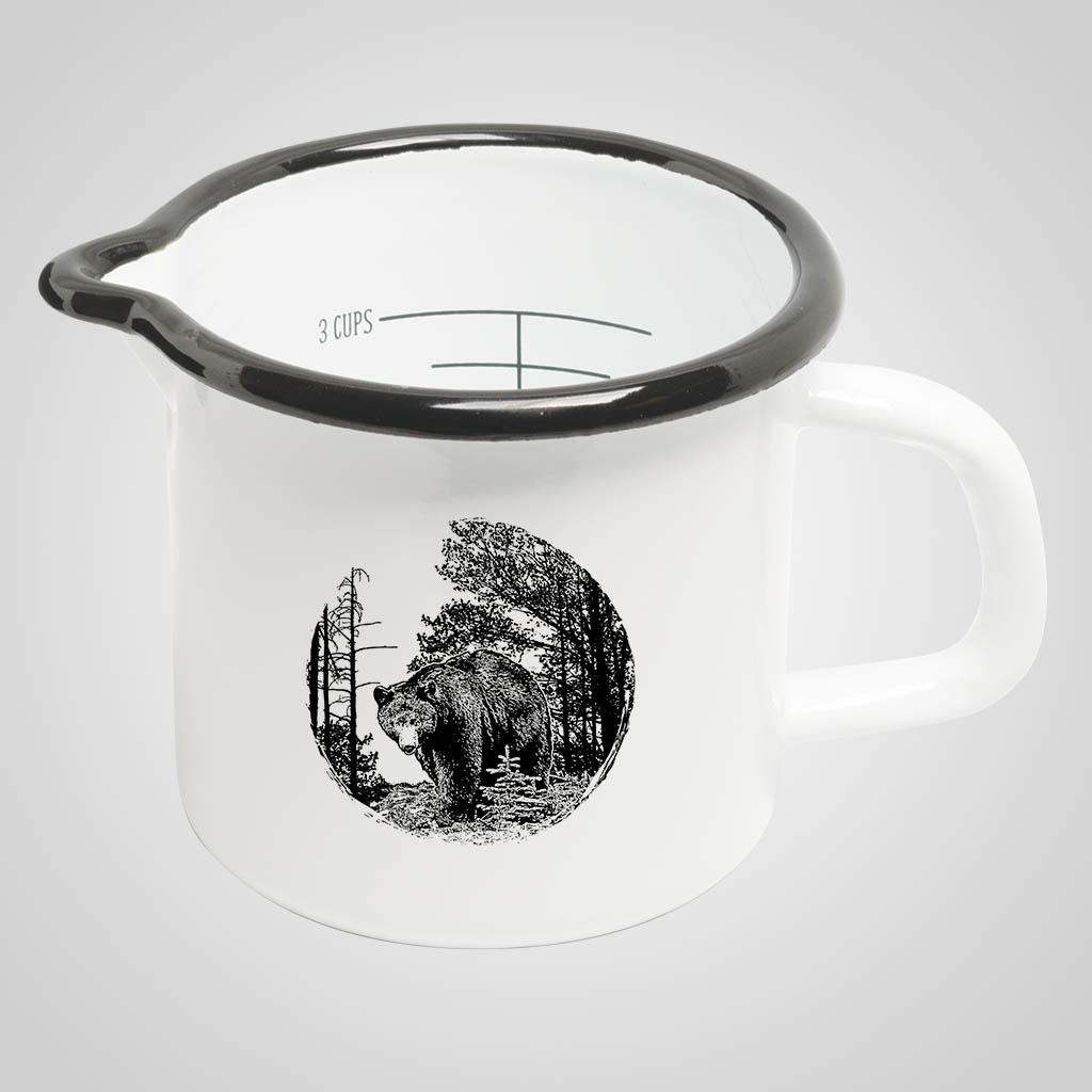 19564BEA - Enamelware Measuring Cup - Bear Print