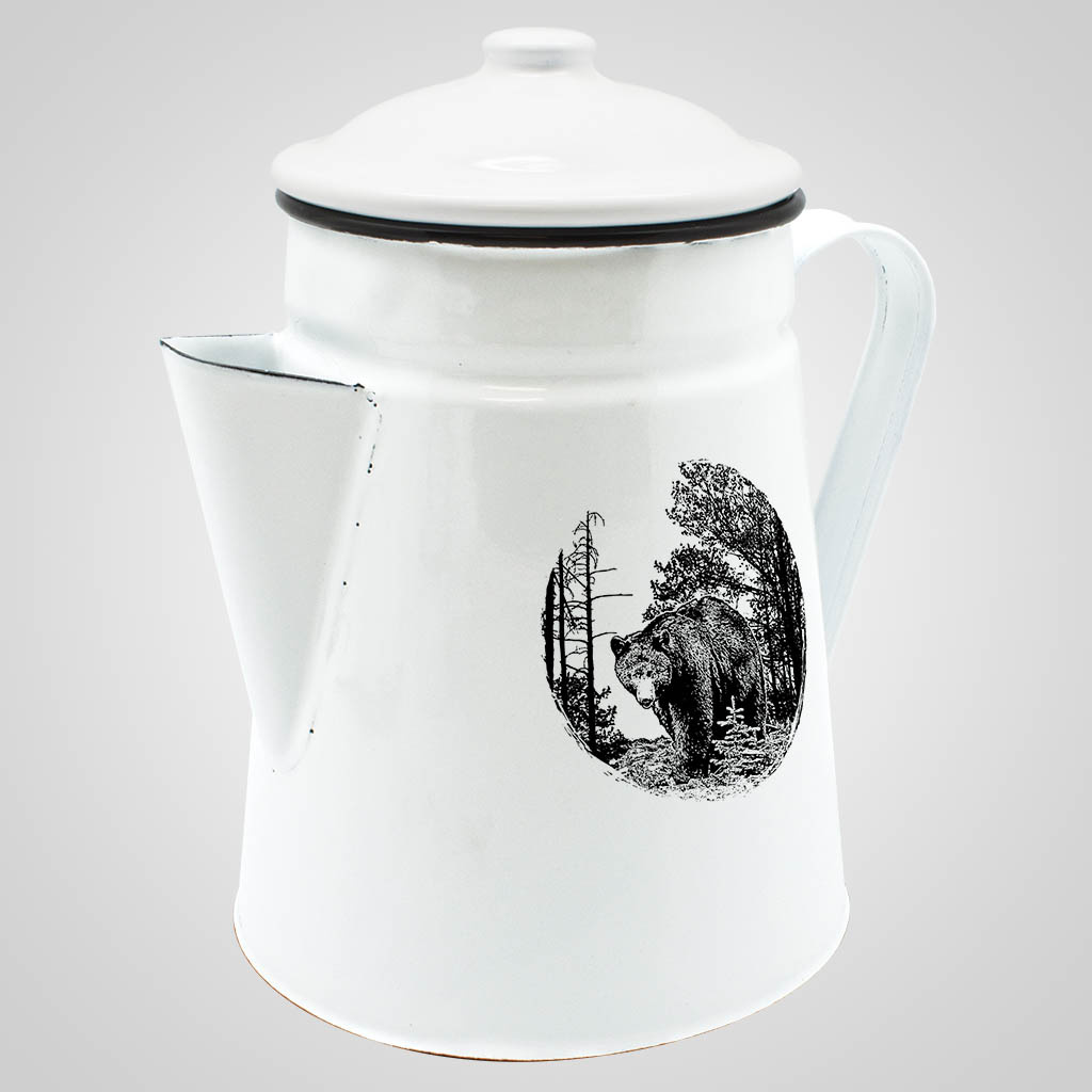 19566BEA - Enamelware Coffee Server- Bear Print
