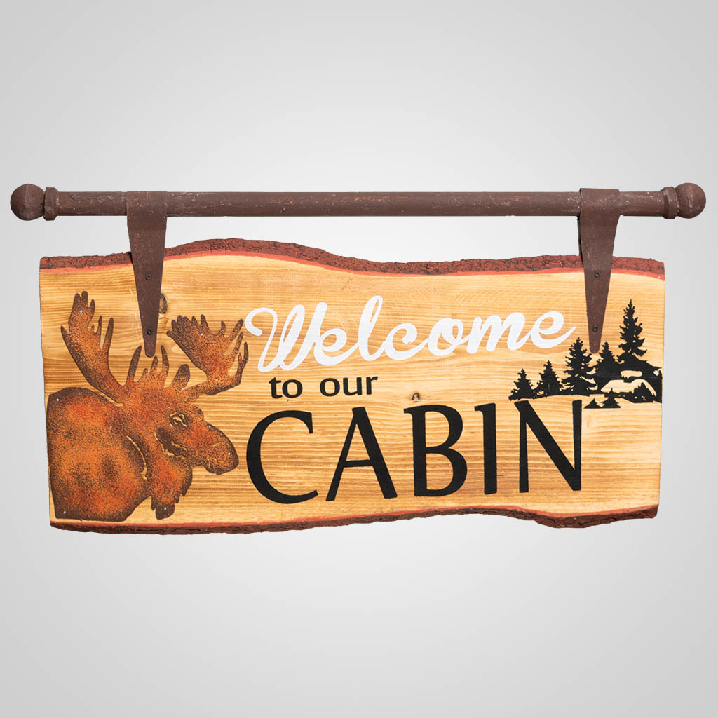 19586 - Moose Welcome Wood Slice Sign