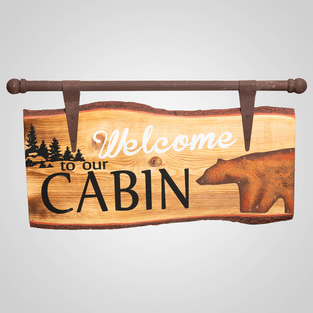 19587 - Bear Welcome Wood Slice Sign