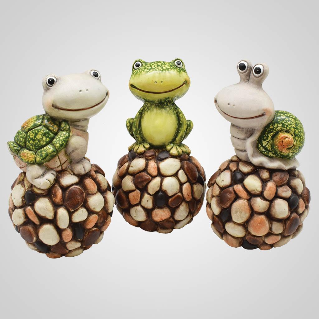 19601 - Pebble-Stone Turtle, Frog & Snail