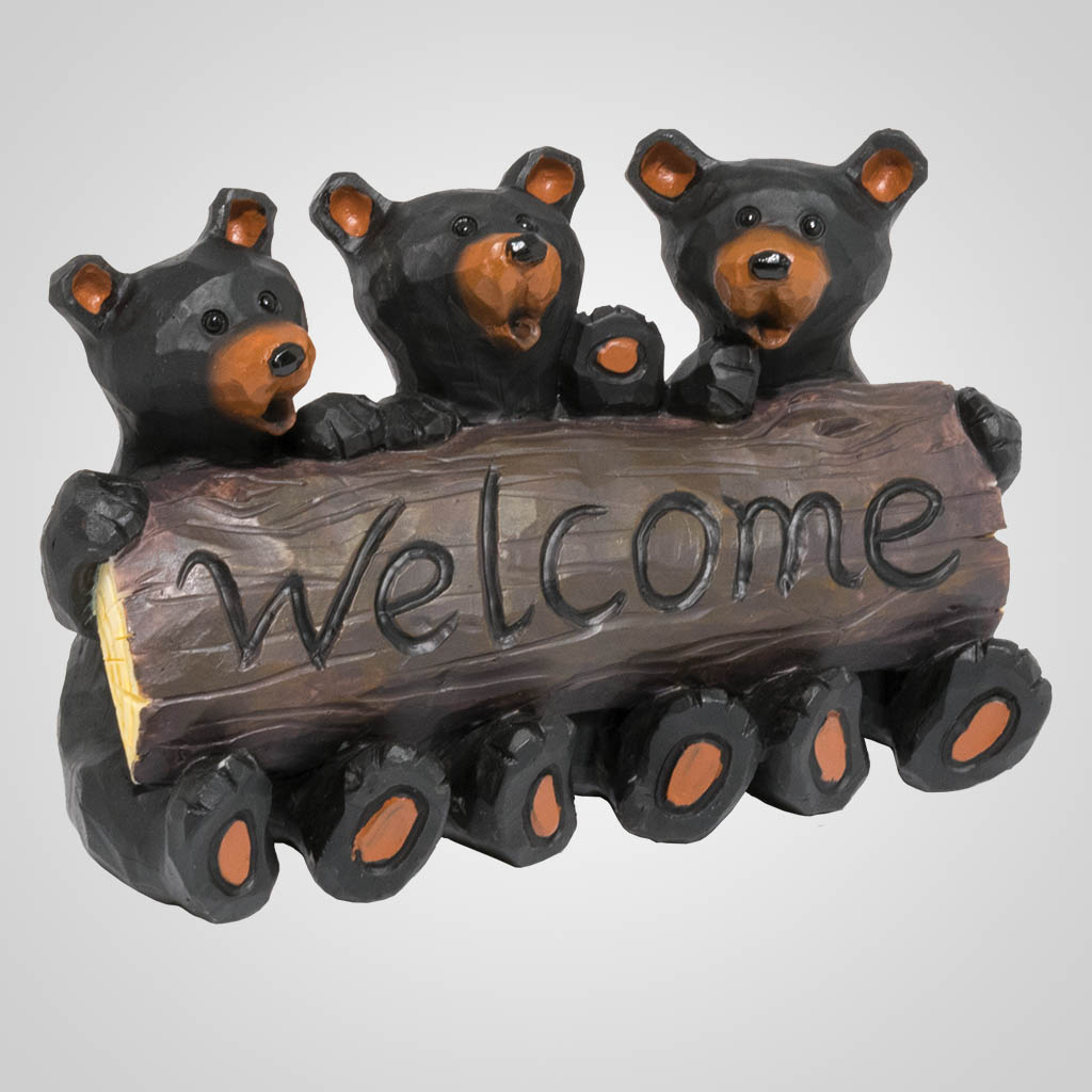 19626 - Bear Welcome Log Figurine