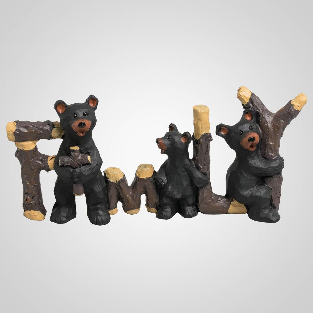 19646 - Bear Family With Cross Figurine