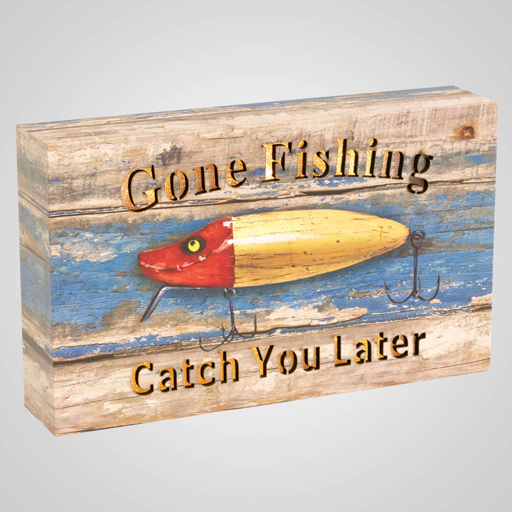 19661 - Gone Fishing Lure Light-Up Plaque