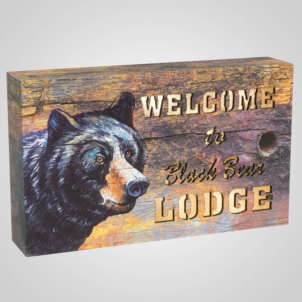 19663 - Black Bear Lodge Light-Up Plaque