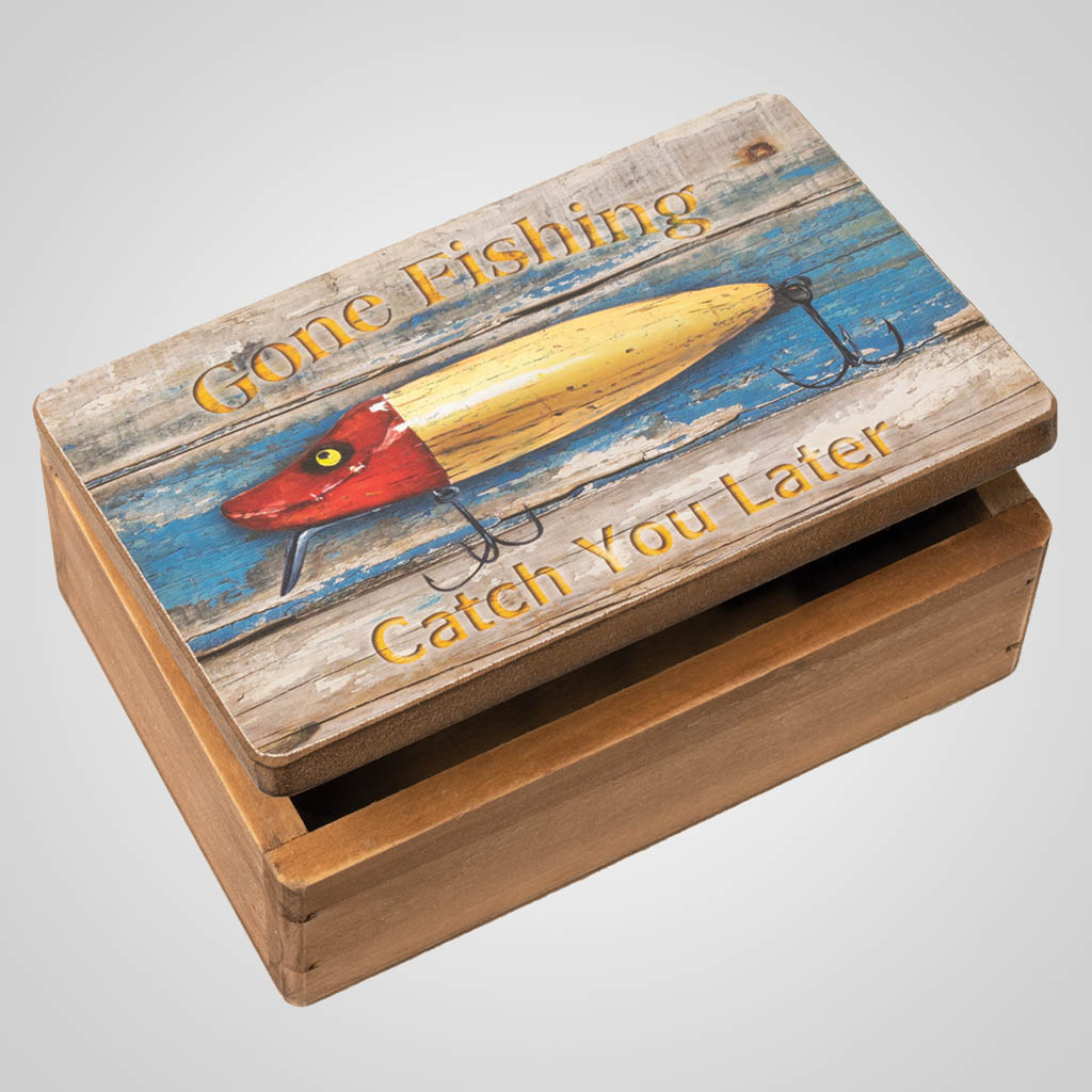 19664 - Gone Fishing Lidded Wood Box