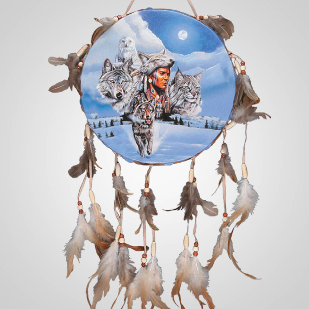 62289 - Drum Wall Hanging, Winter Wildlife
