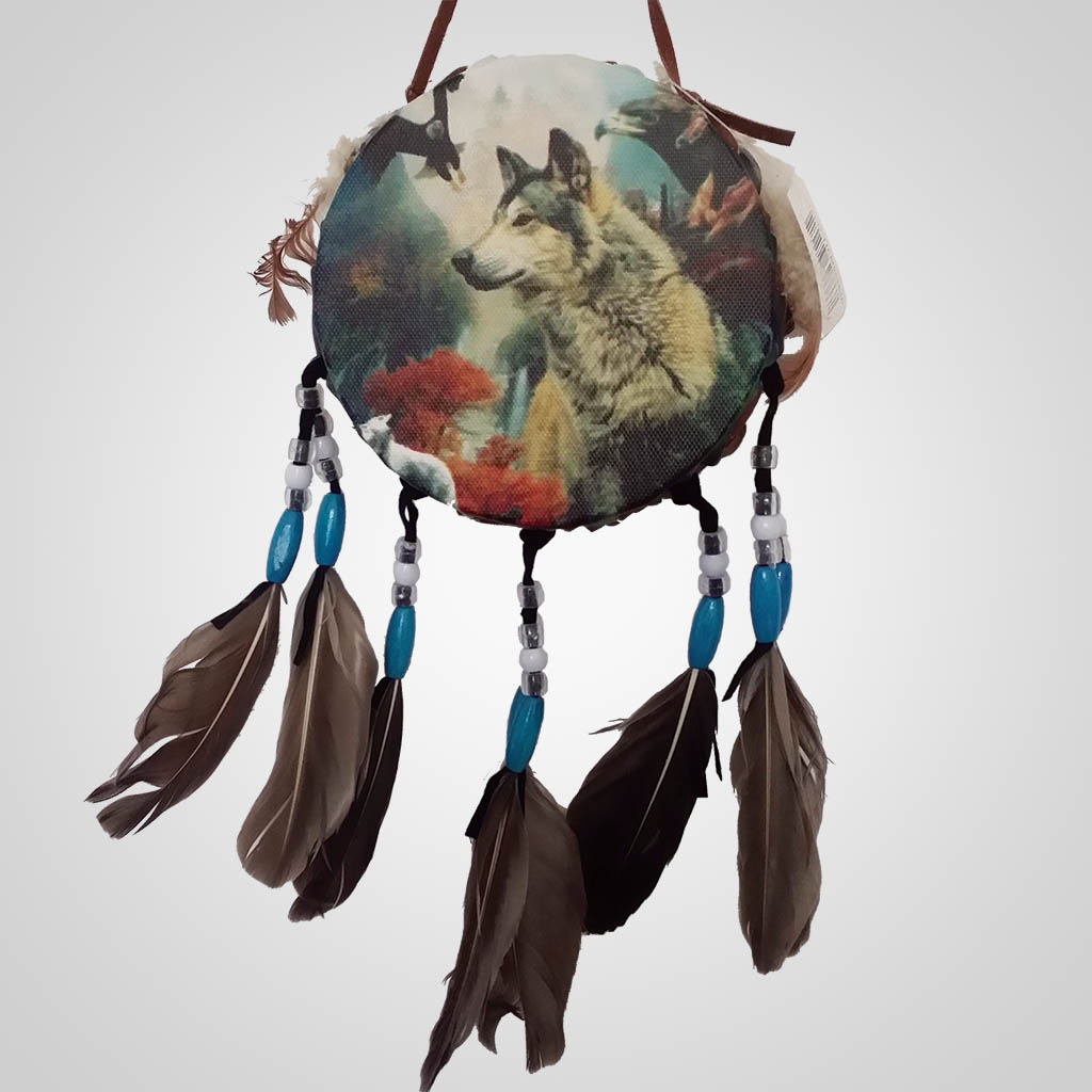 62686 - Drum Wall Hanging, Wolf & Eagle