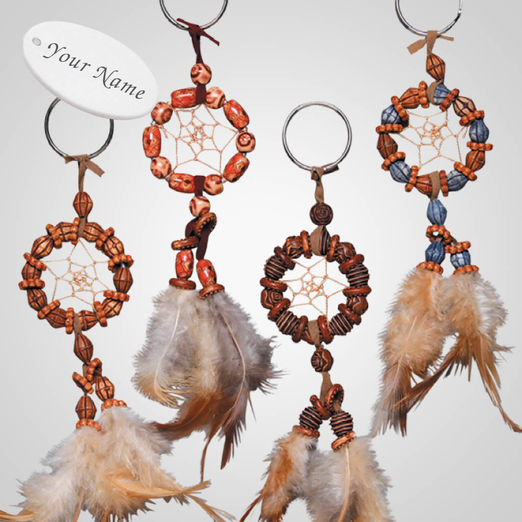 62688IM - Beaded Dreamcatcher Keyring, Name-Drop