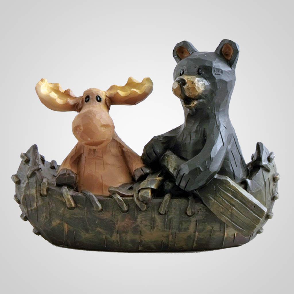 62906 - Moose & Bear Canoeing Figurine
