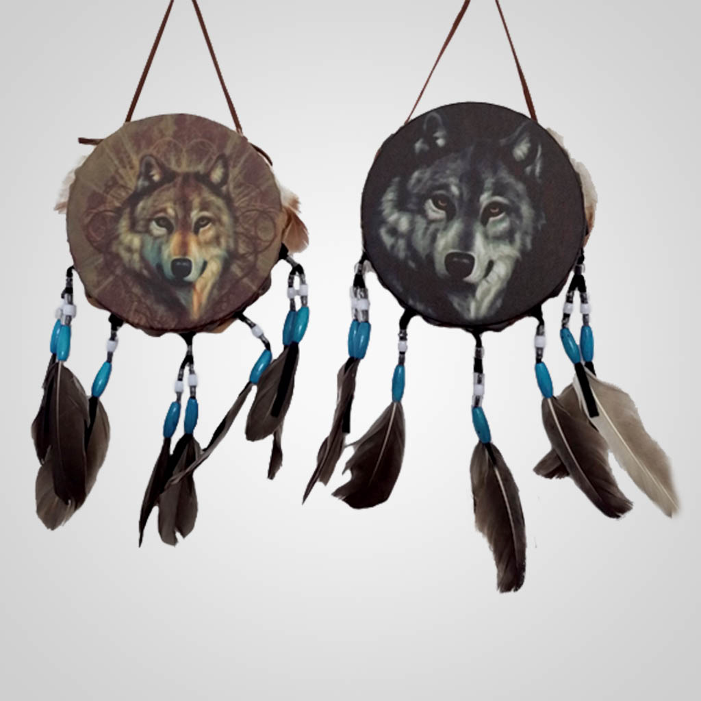 63160 - Drum Wall Hanging, Wolf Head