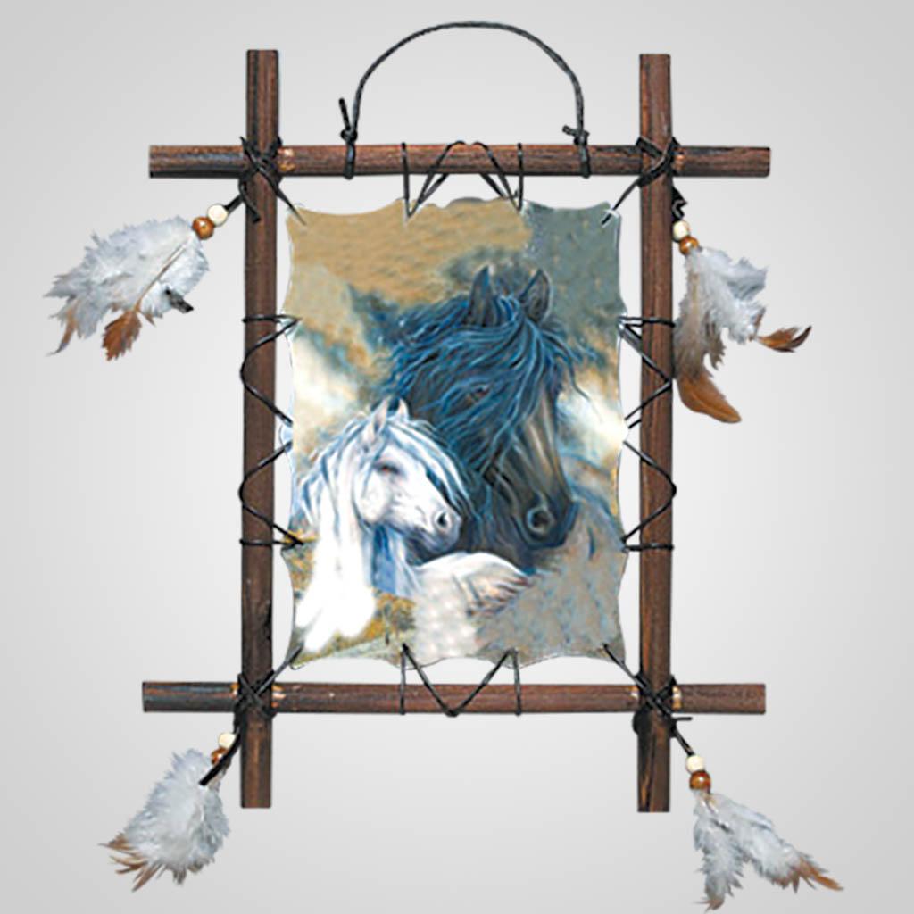63186 - Black & White Horses Wall Hanging