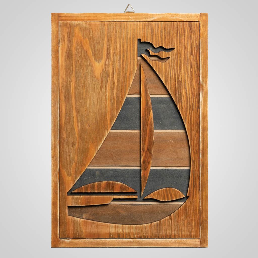 63312 - Sailboat Wood Cutaway Plaque