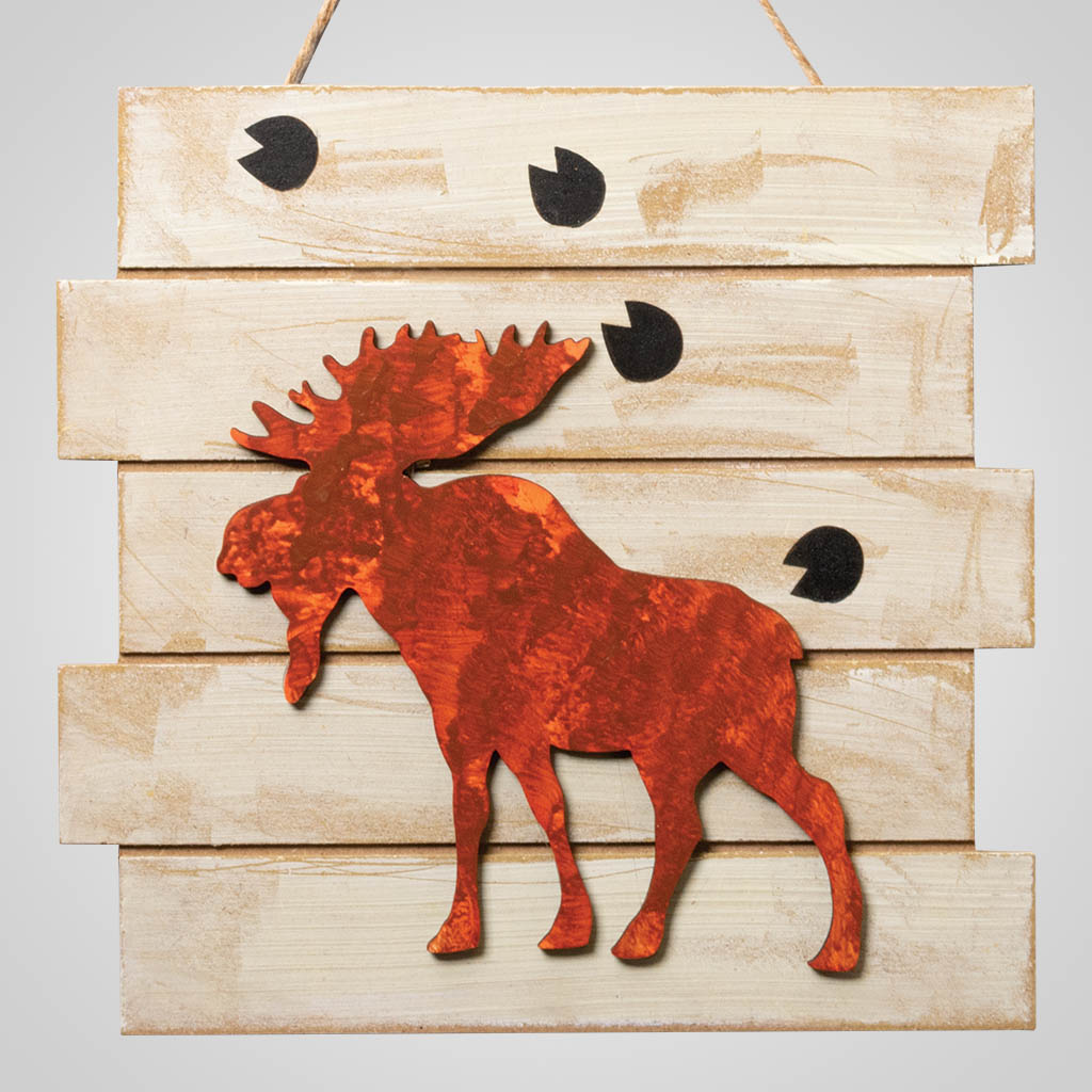 63314 - Rusted Moose Wood Plaque