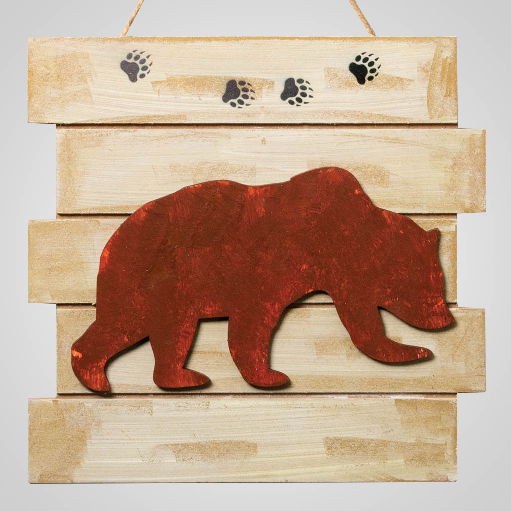 63315 - Rusted Bear Wood Plaque