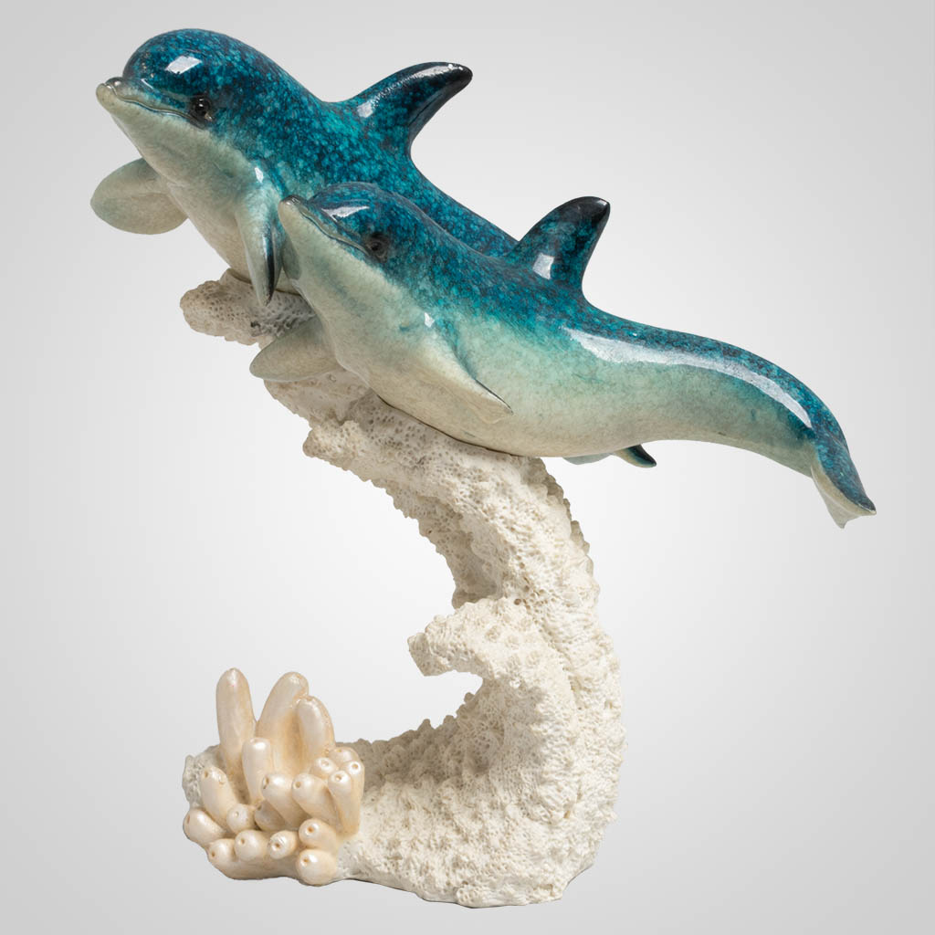 63369 - Dolphin Pair With Coral Figurine