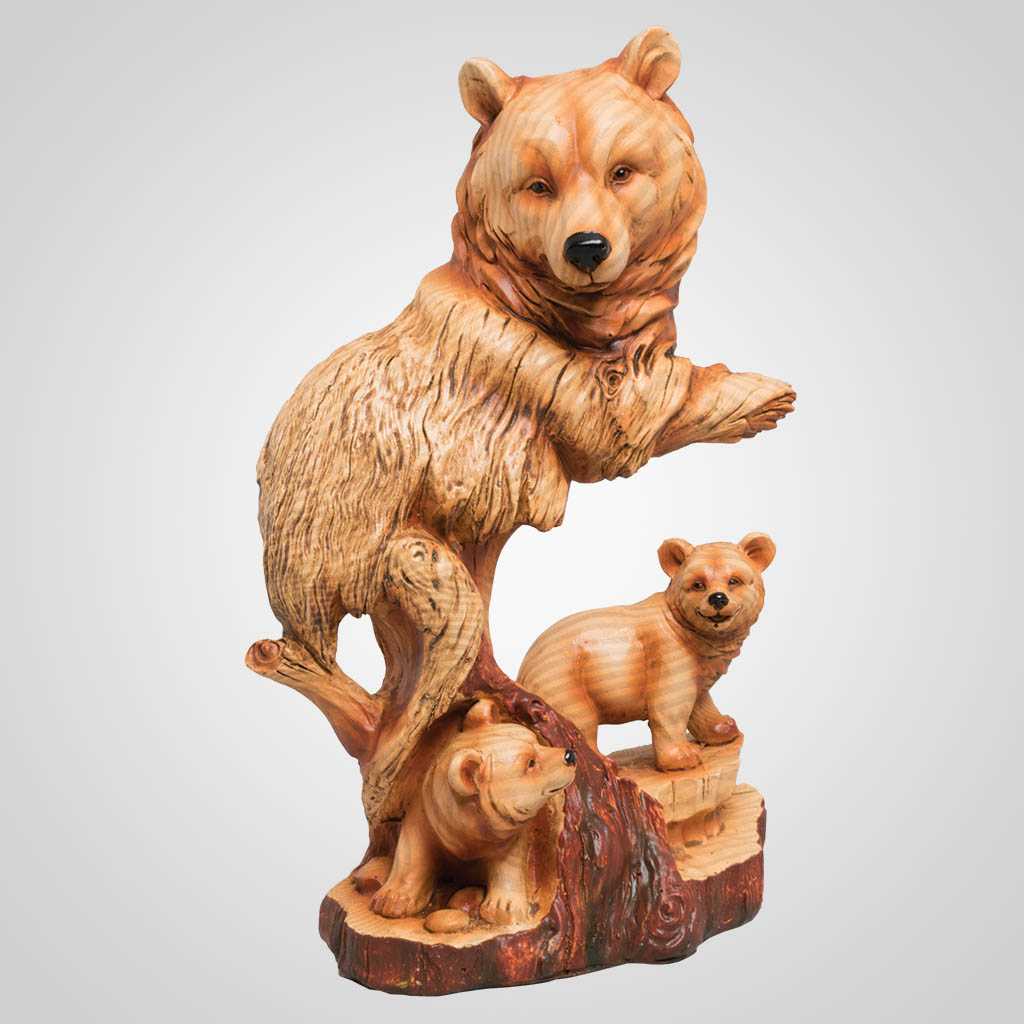 63377 - Carved-Wood-Look Bear Family