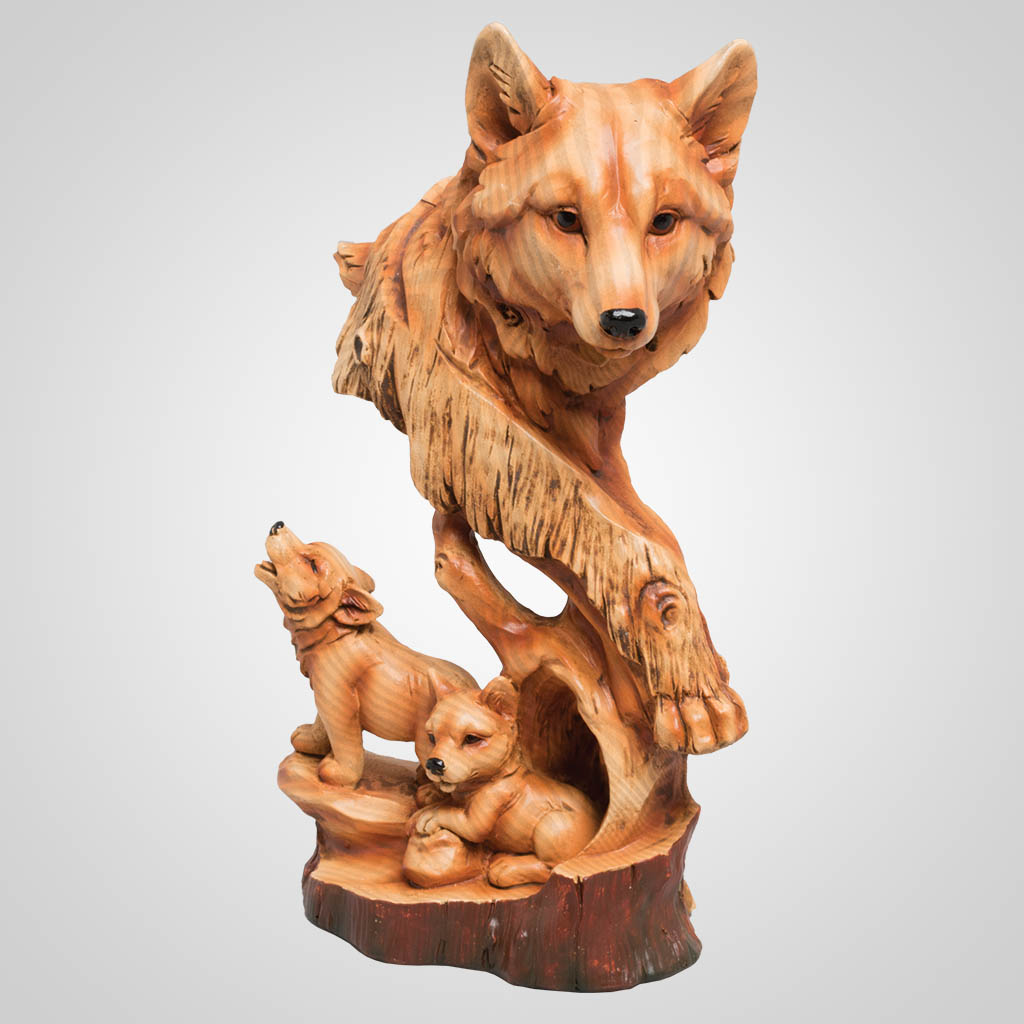 63378 - Carved-Wood-Look Wolf Family