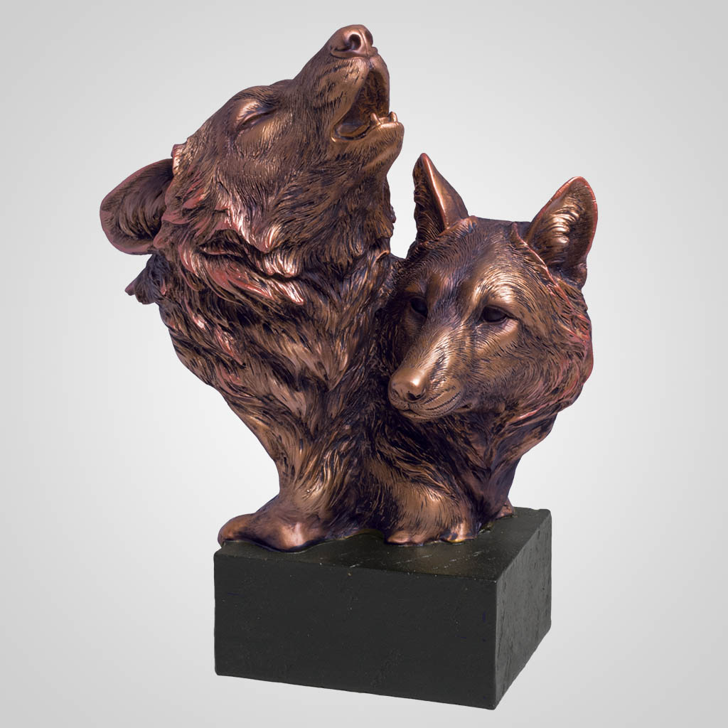 63384 - Bronze-Look Wolves Bust