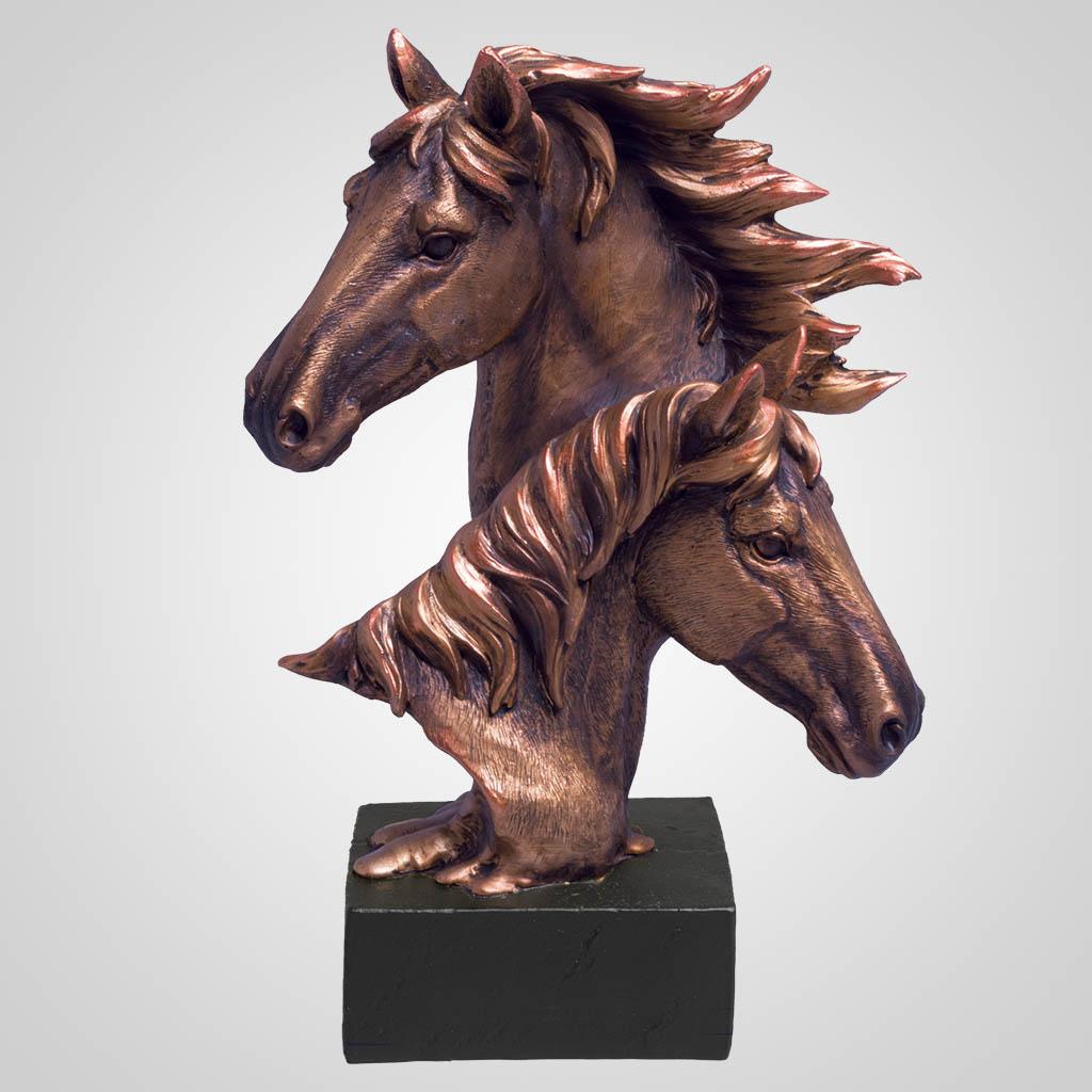 63385 - Bronze-Look Horses Bust
