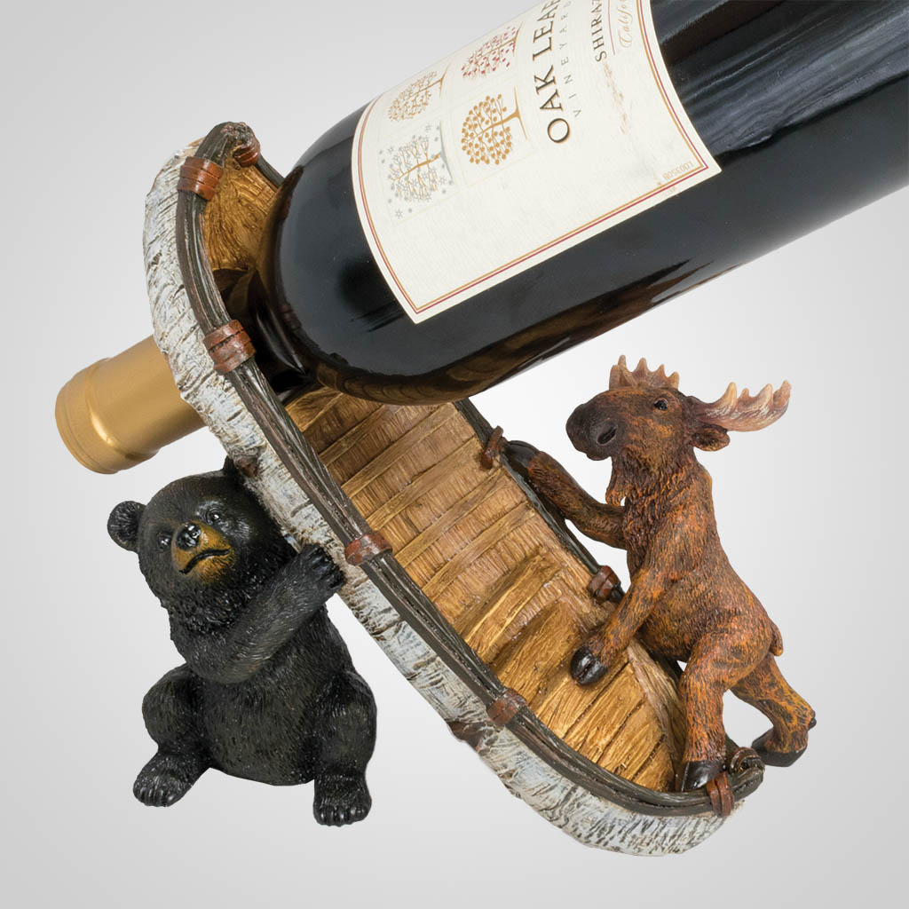 63438 - Bear, Moose, & Canoe Wine Bottle Holder