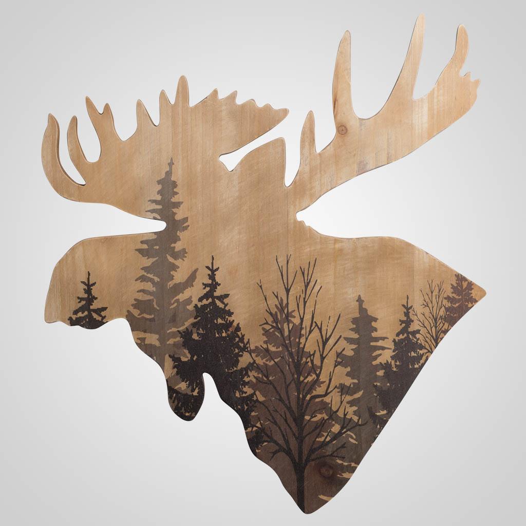 63448 - Moose-Shape Forest Plaque