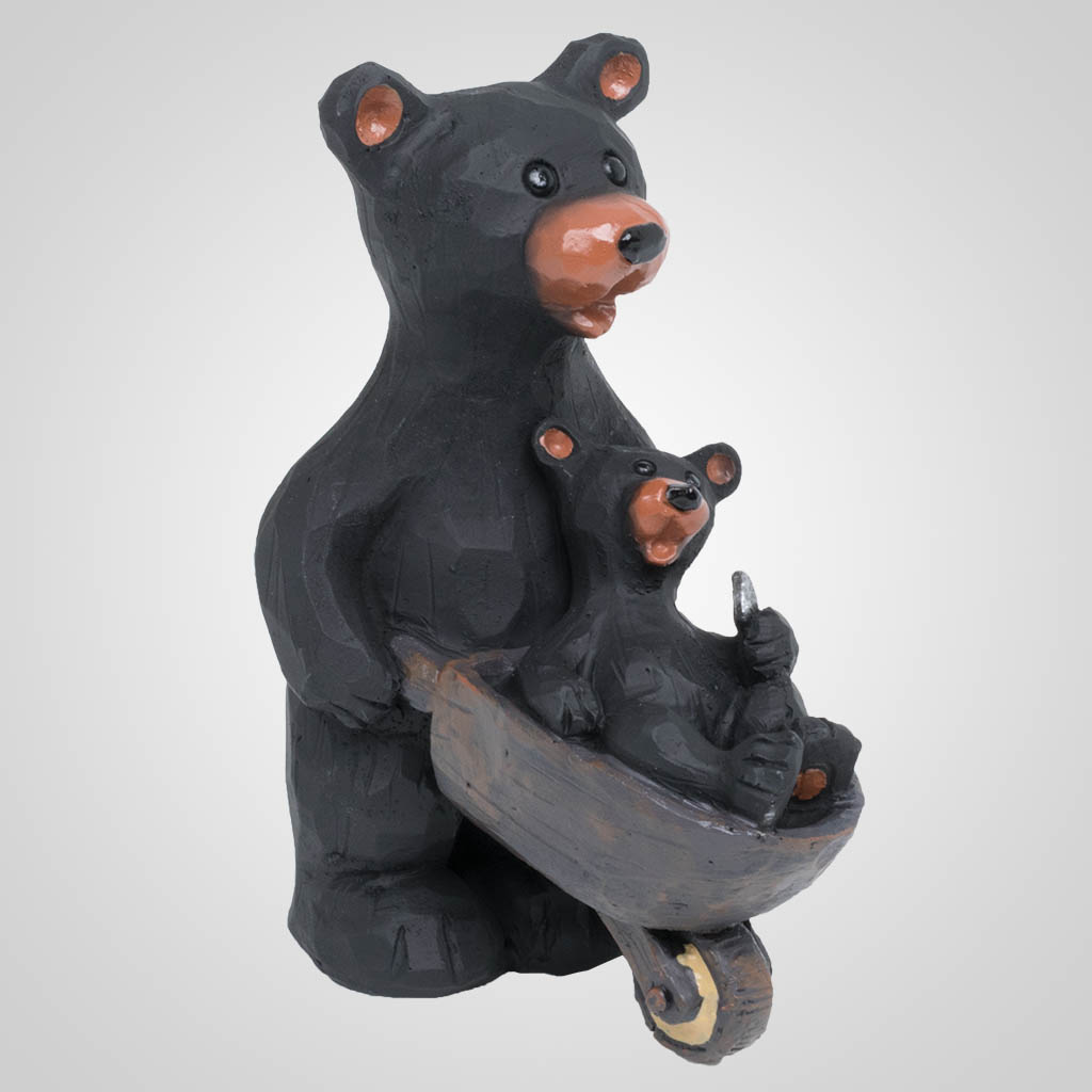 63477 - Bear With Cub In Wheelbarrow