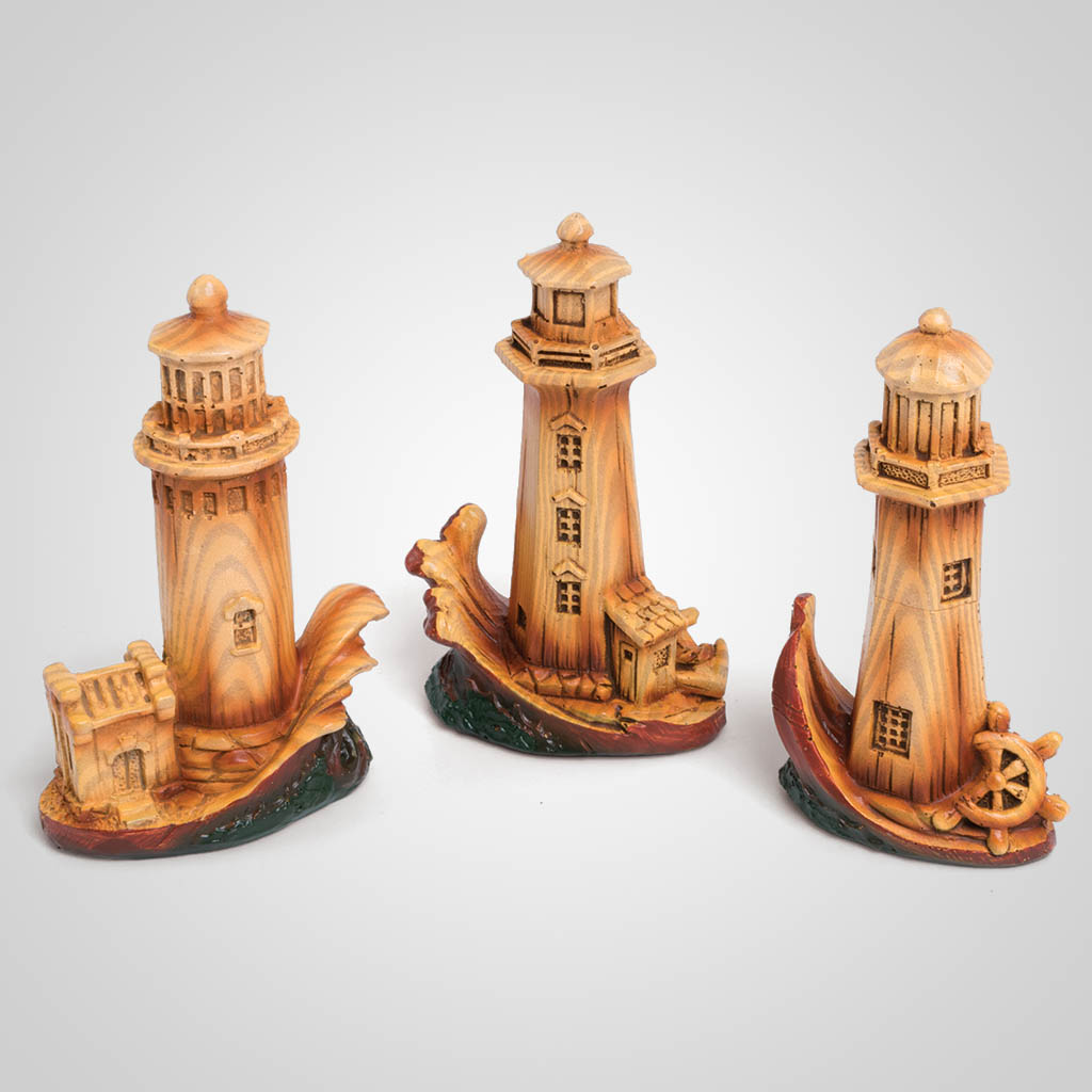 63480 - Carved Wood Look Lighthouse