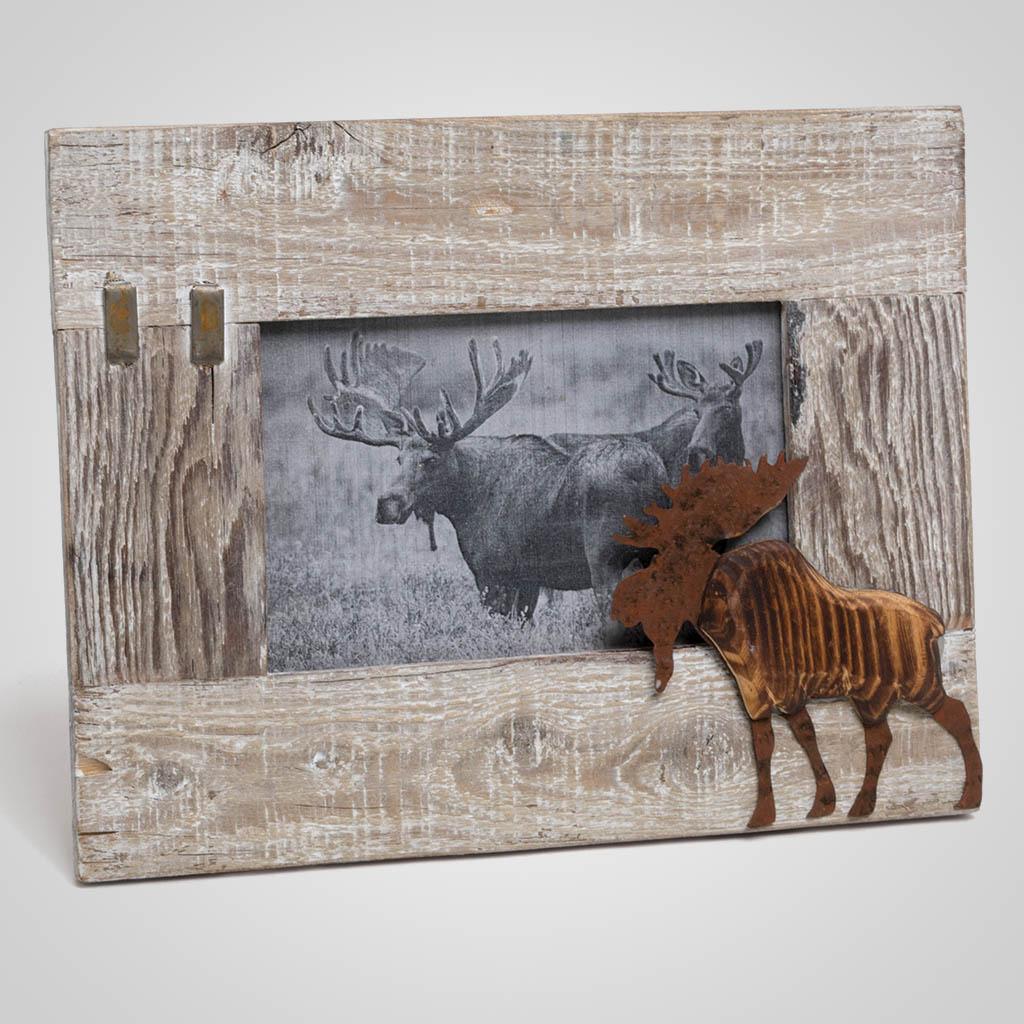 63482 - Moose Wood/Metal Photo Frame
