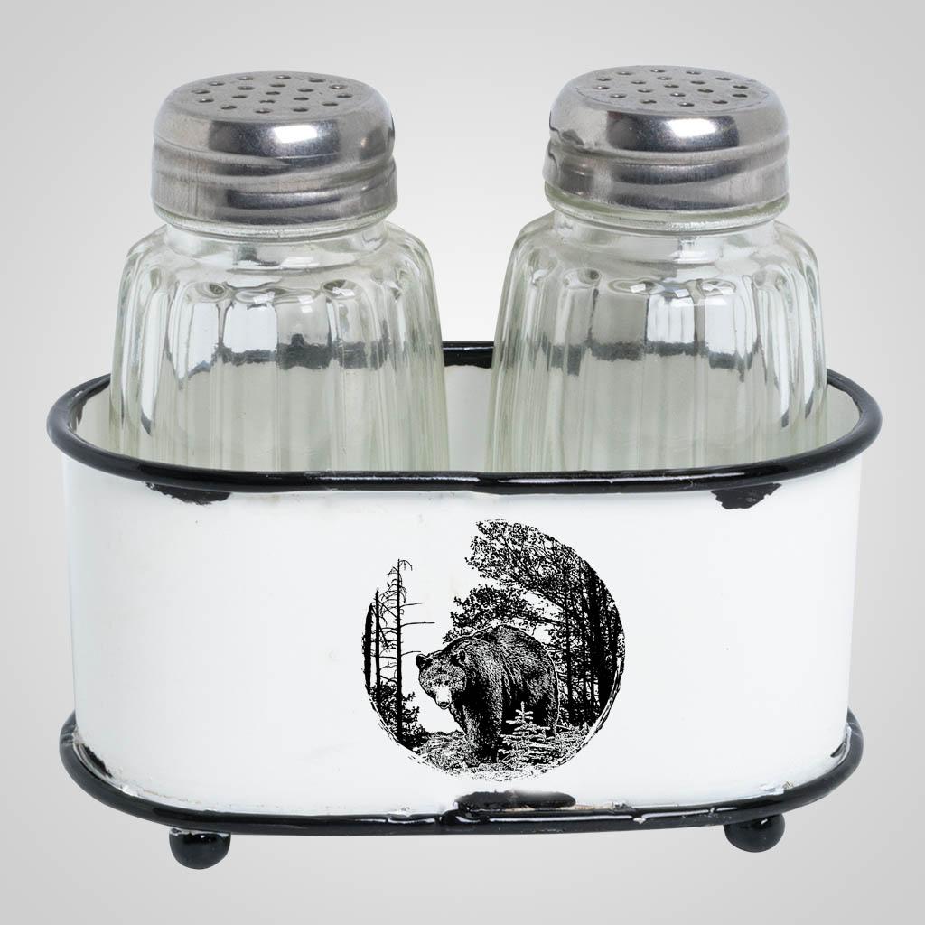 63507BEA - Enamel Basket Salt & Pepper, Bear