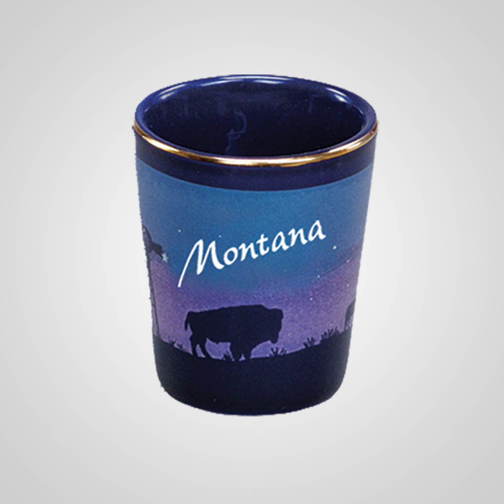 14010PP - Cobalt Prairie Scene Shot Glass, Name-Drop