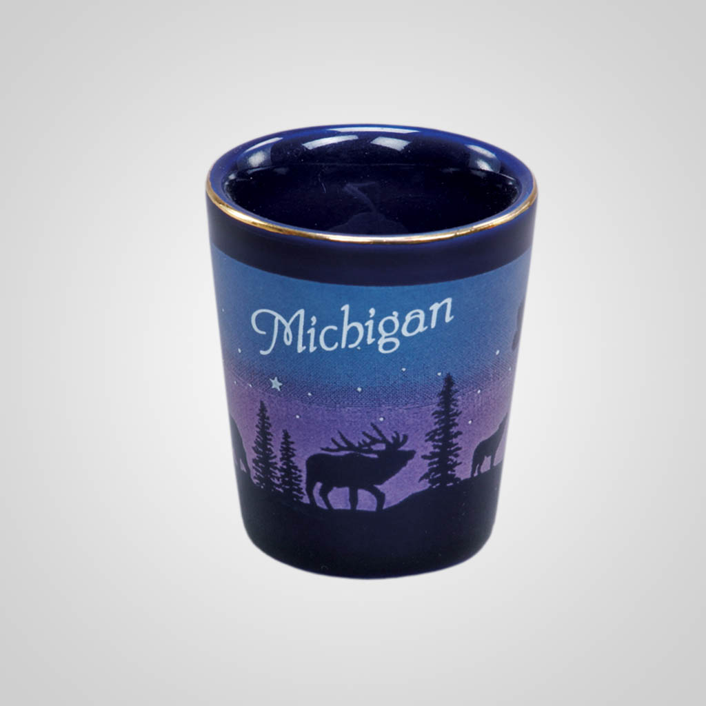 14011PP - Cobalt Elk/Forest Shot Glass, Name-Drop