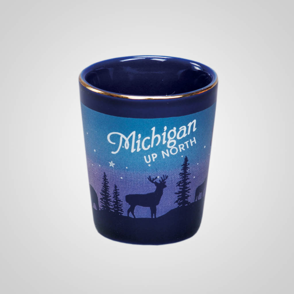 14012PP - Cobalt Deer/Forest Shot Glass, Name-Drop