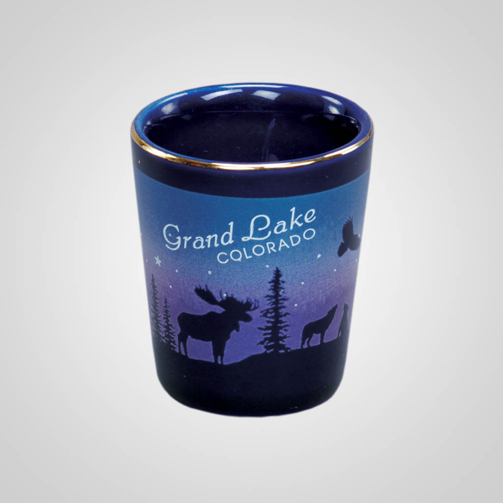 14013PP - Cobalt Moose/Forest shot glass, Name-Drop