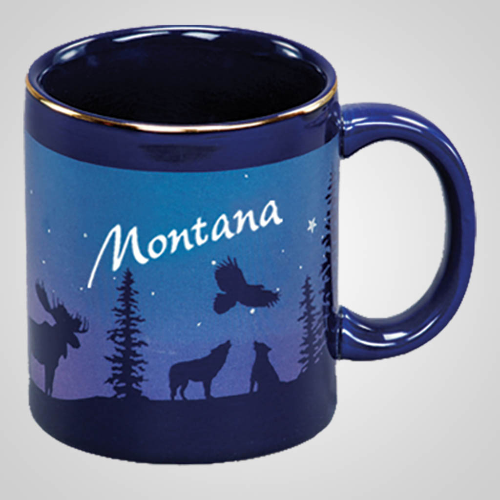 14075PP - Cobalt Moose/Forest Mug, Name-Drop