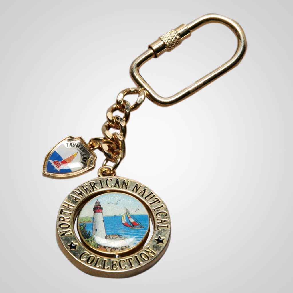 14594 - Round Swivel Shield Keychain, Nautical