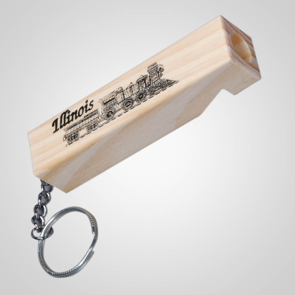 15282 - Wood Train Whistle Keychain, Name-Drop