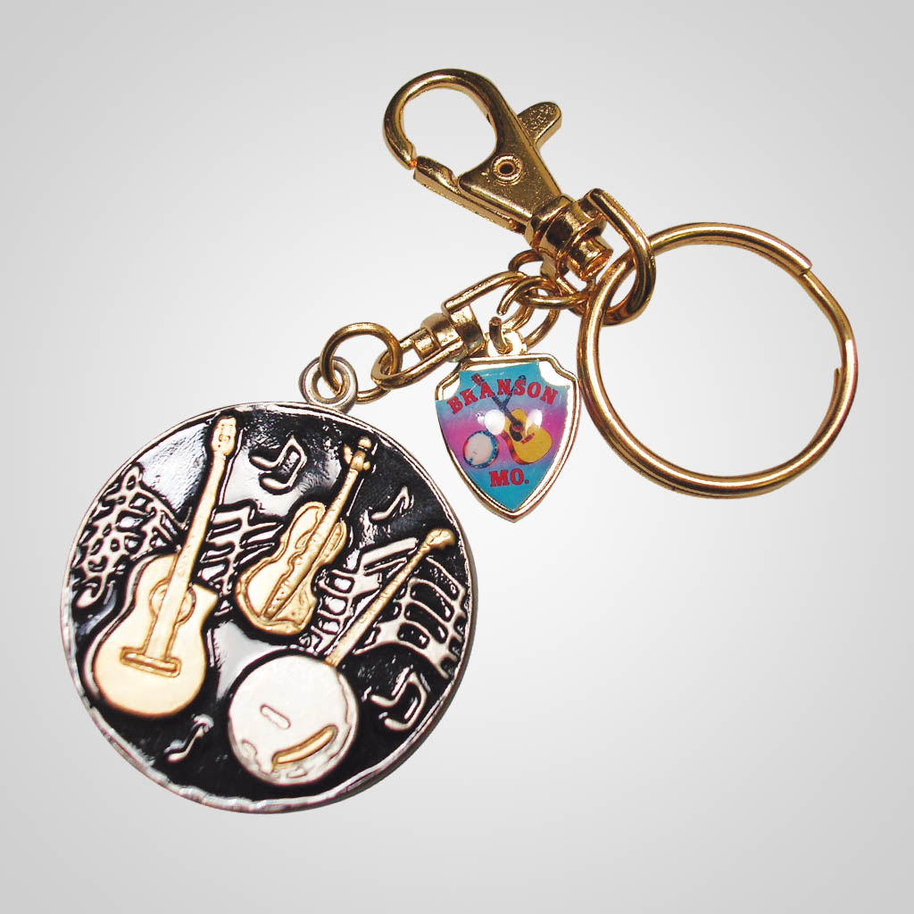 16491 - Country Music Keychain With Shield Charm