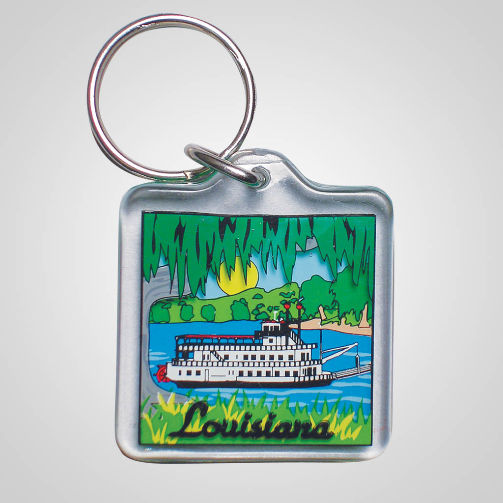 16545 - Lucite Riverboat Keychain, Name-Drop