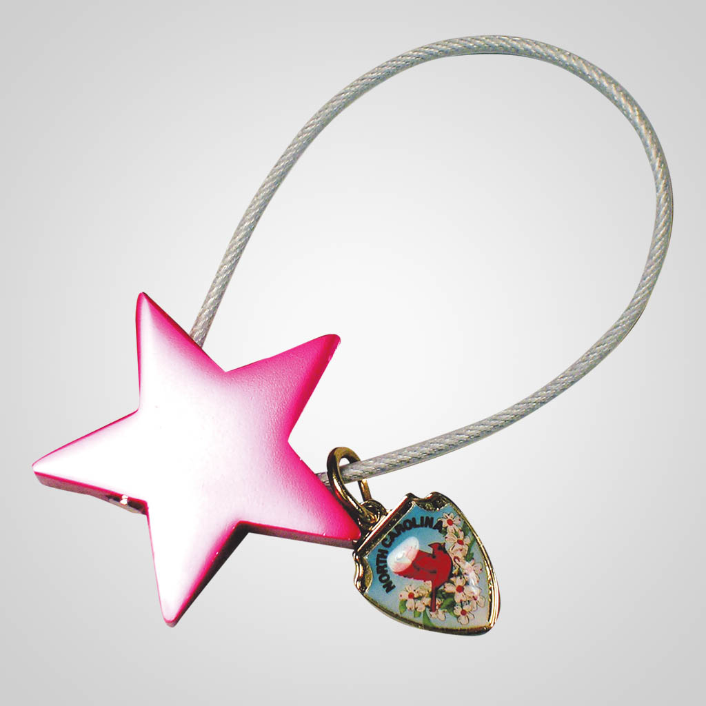16563 - Star Cable Keychain With Shield Charm