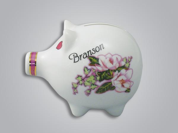 16625PP - Pearl Trim Magnolia Piggy Bank