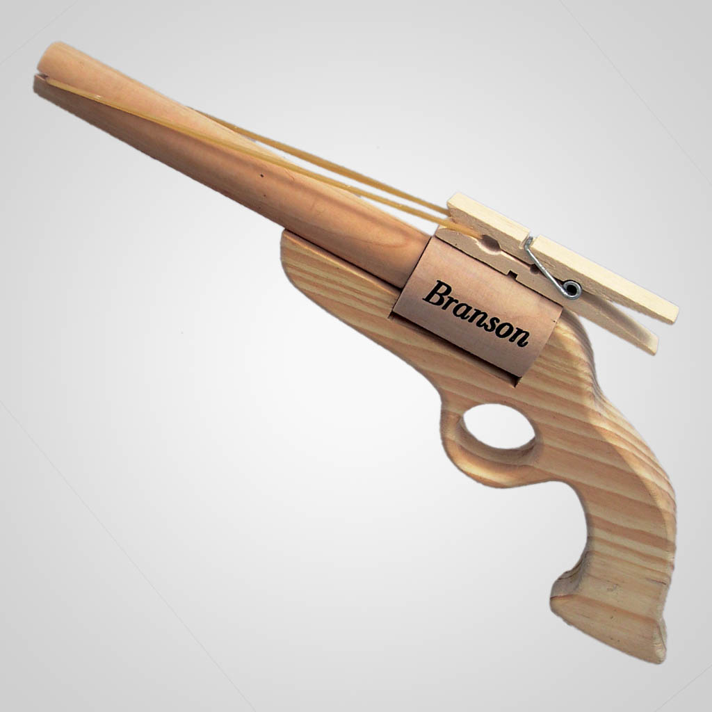 16654 - Wood Rubber Band Gun, Name-Drop