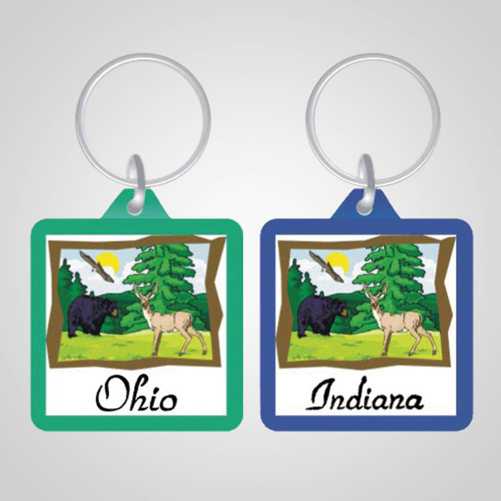 17159 - Square Wilderness Keychain, Name-Drop