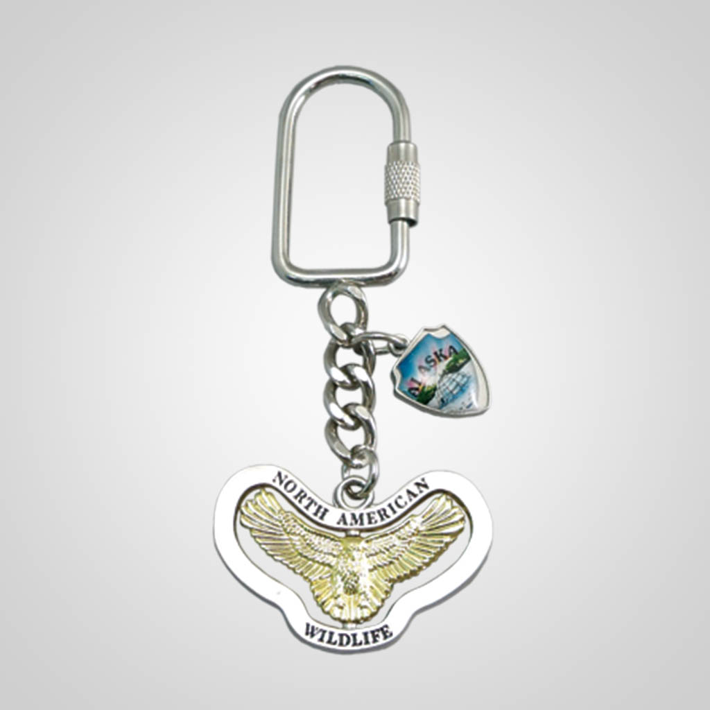 17173 - Eagle Spinner Keychain With Shield