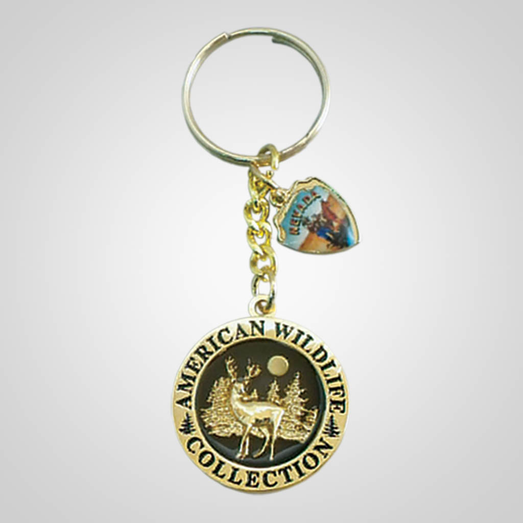 17178 - Round Keychain With Shield Charm, Deer